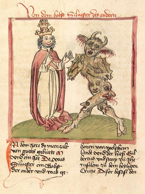 Silvester II. and the Devil Cod. Pal. germ. 137 f216v