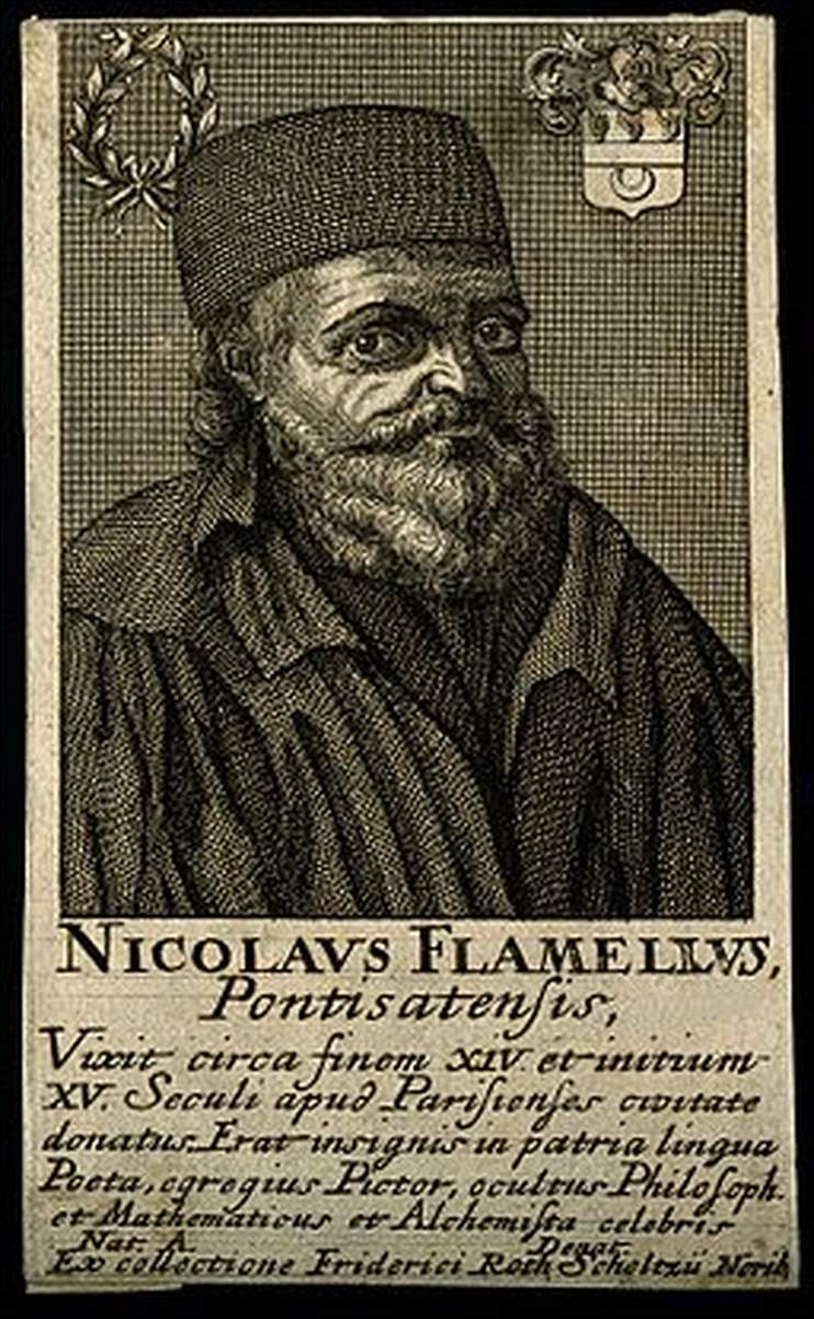 256px Nicolas Flamel. Line engraving. Wellcome V0001935