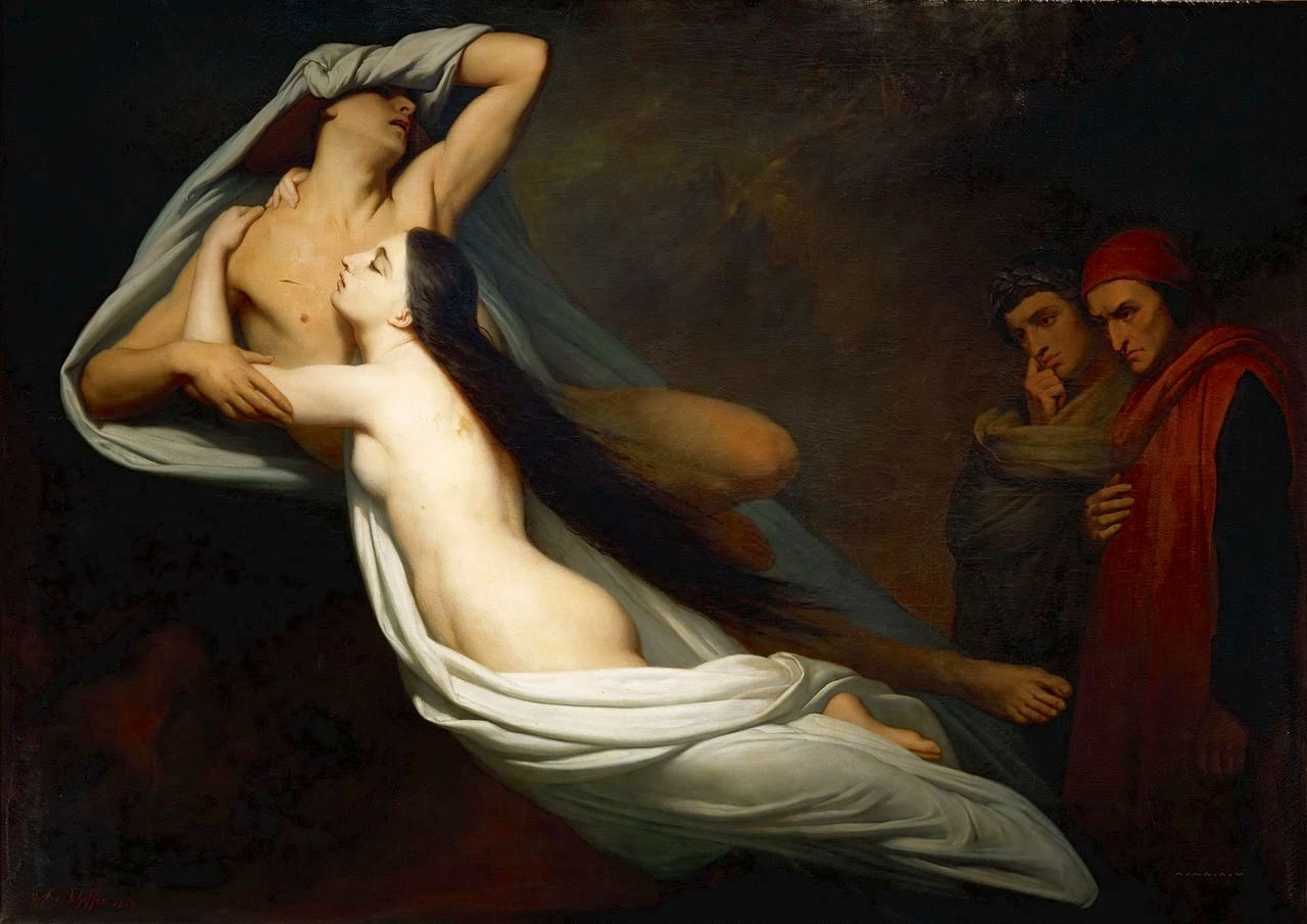 1280px 1855 Ary Scheffer The Ghosts of Paolo and Francesca Appear to Dante and Virgil